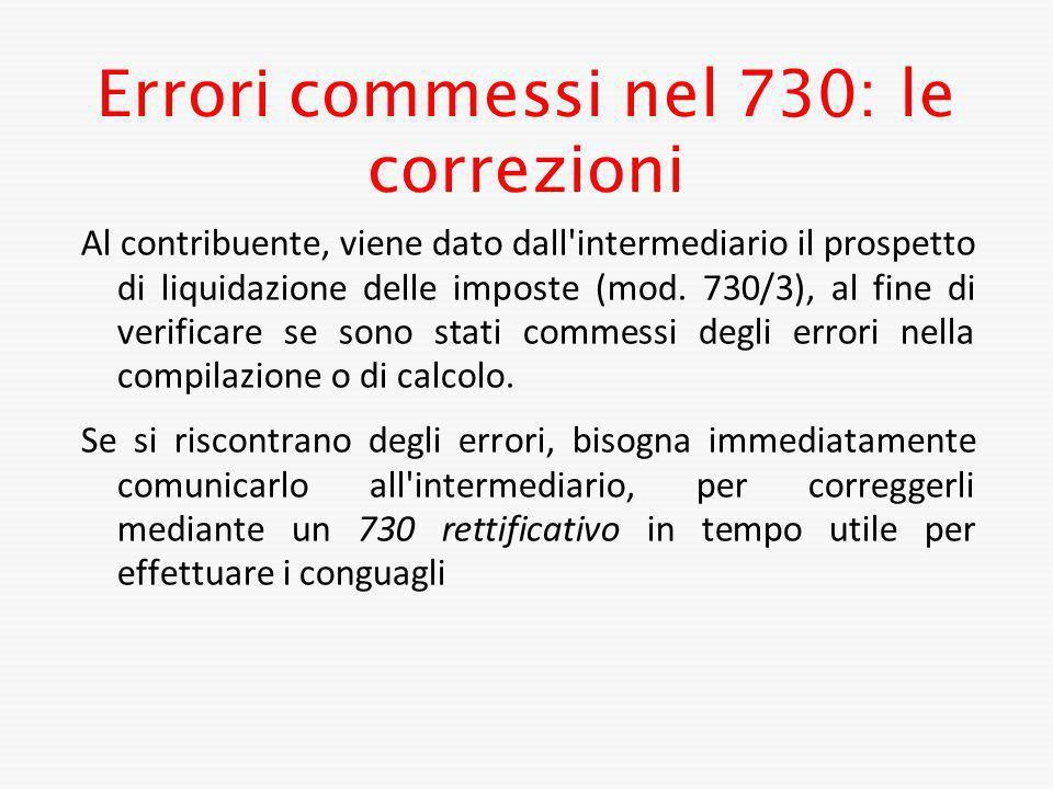 Errori commessi nel 730: le correzioni
