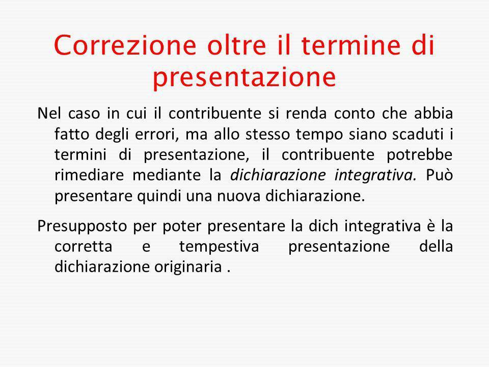 Correzione oltre il termine di presentazione