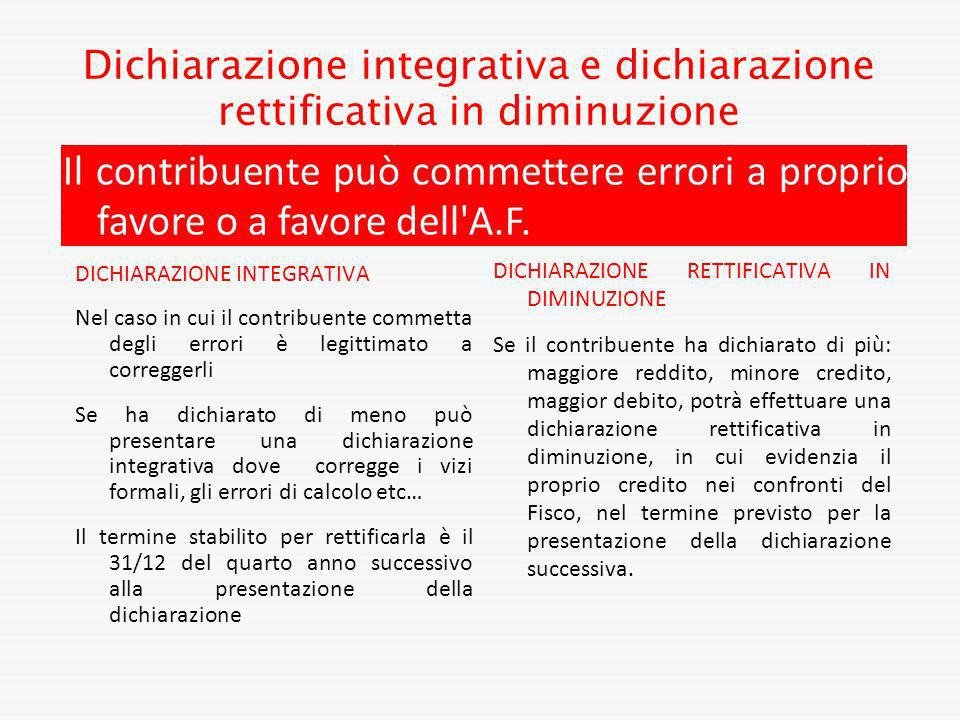 Dichiarazione integrativa e dichiarazione rettificativa in diminuzione