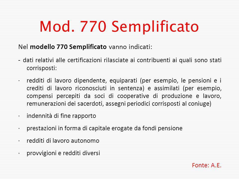 Mod. 770 Semplificato Nel modello 770 Semplificato vanno indicati: