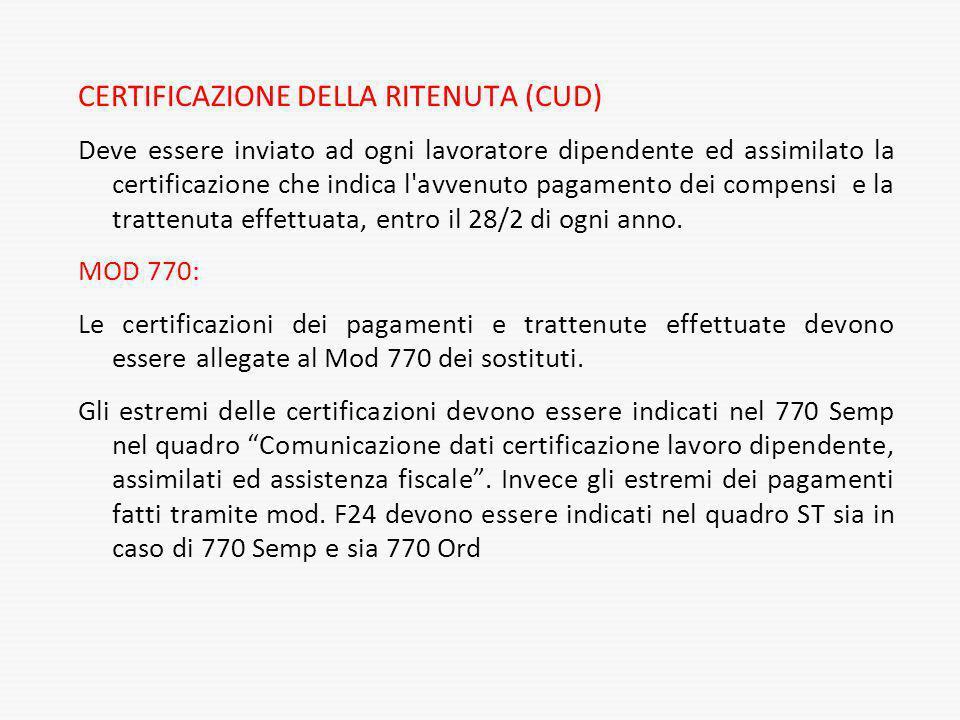CERTIFICAZIONE DELLA RITENUTA (CUD)