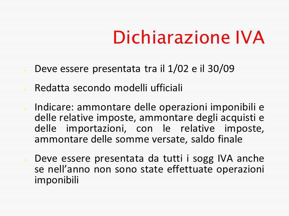 Dichiarazione IVA Deve essere presentata tra il 1/02 e il 30/09