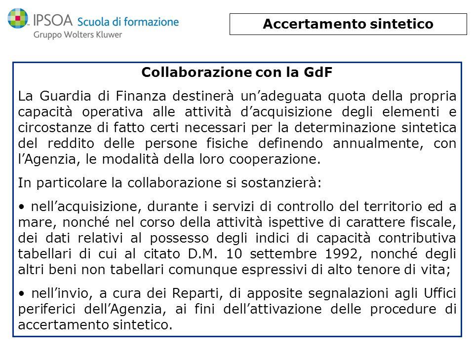 Accertamento sintetico Collaborazione con la GdF