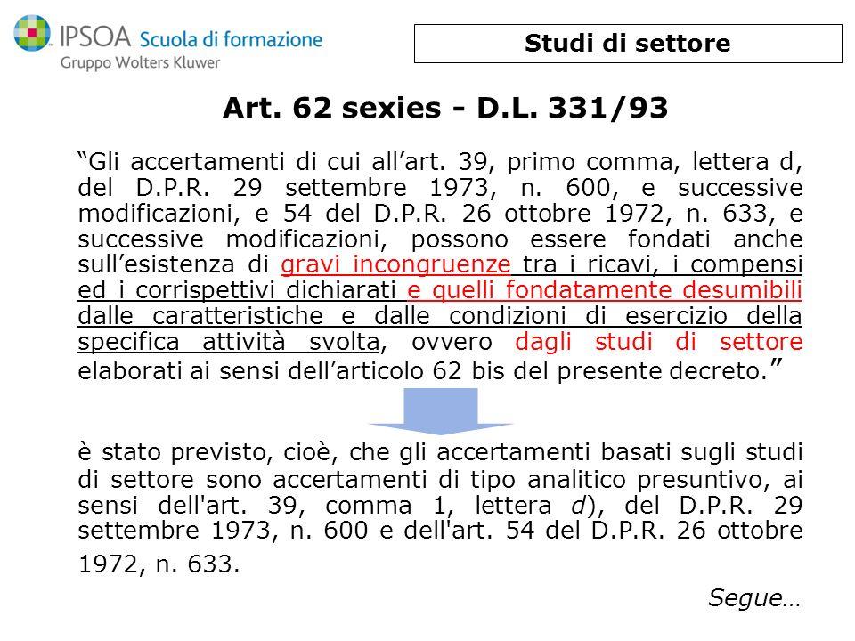 Studi di settore Art. 62 sexies - D.L. 331/93.
