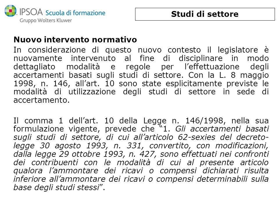 Studi di settore Nuovo intervento normativo.