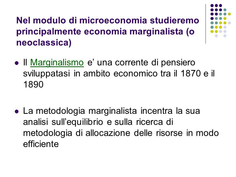 Nel modulo di microeconomia studieremo principalmente economia marginalista (o neoclassica)