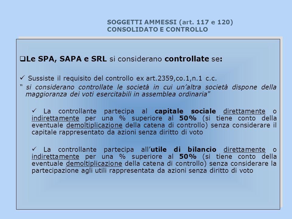 SOGGETTI AMMESSI (art. 117 e 120) CONSOLIDATO E CONTROLLO