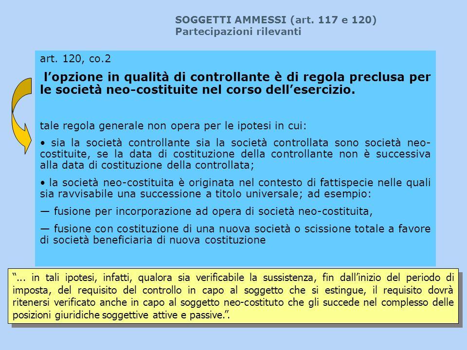 SOGGETTI AMMESSI (art. 117 e 120)