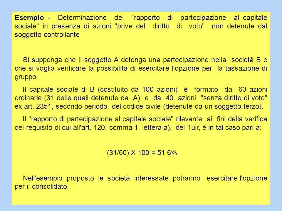 Esempio - Determinazione del rapporto di partecipazione al capitale sociale in presenza di azioni prive del diritto di voto non detenute dal soggetto controllante