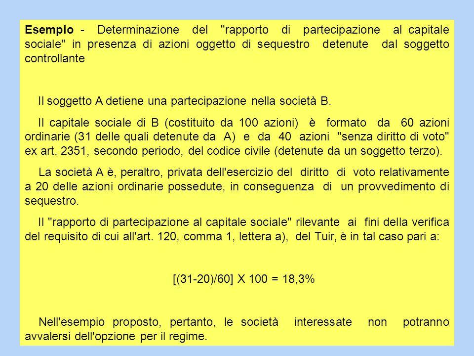 Esempio - Determinazione del rapporto di partecipazione al capitale sociale in presenza di azioni oggetto di sequestro detenute dal soggetto controllante