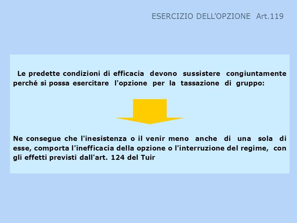 ESERCIZIO DELL'OPZIONE Art.119