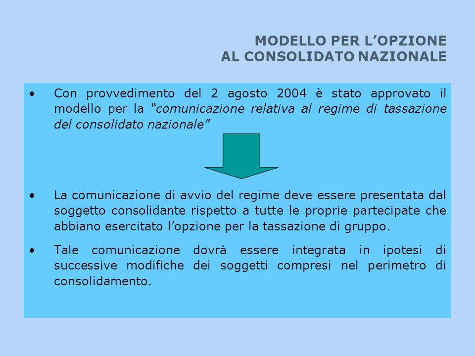 MODELLO PER L'OPZIONE AL CONSOLIDATO NAZIONALE