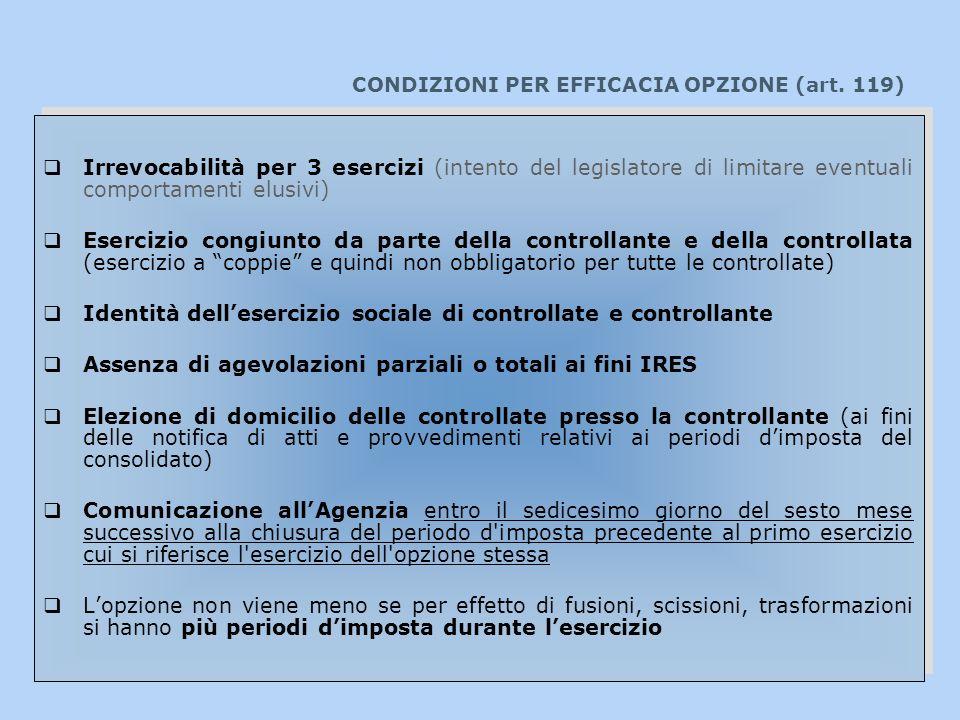 CONDIZIONI PER EFFICACIA OPZIONE (art. 119)