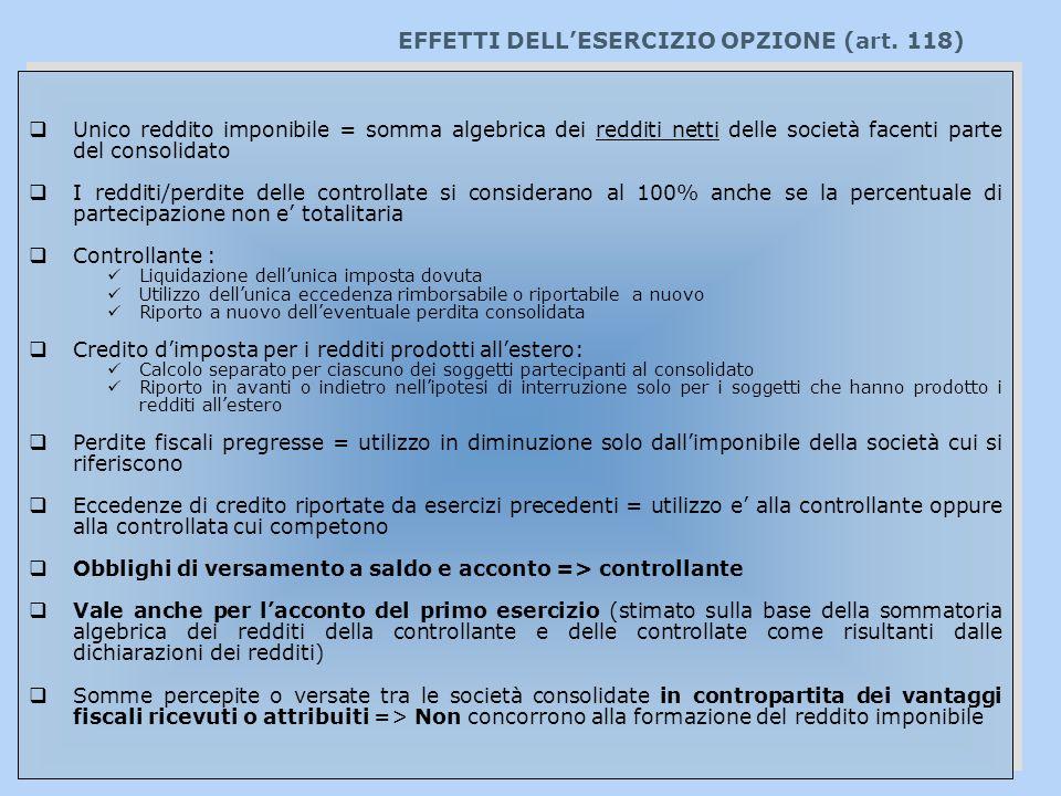 EFFETTI DELL'ESERCIZIO OPZIONE (art. 118)