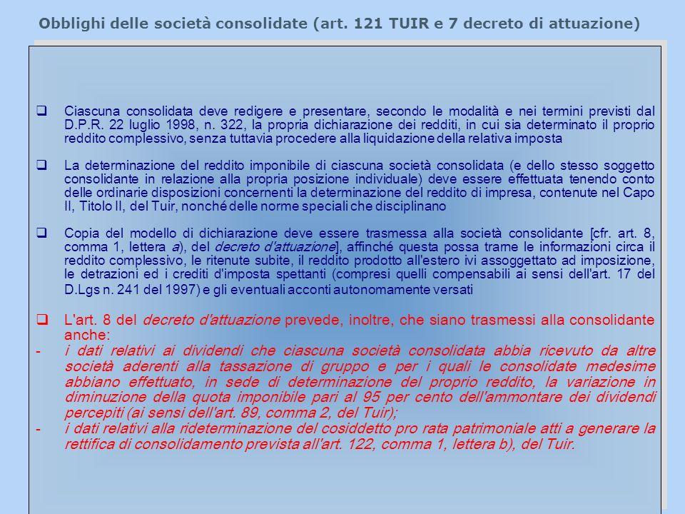 Obblighi delle società consolidate (art