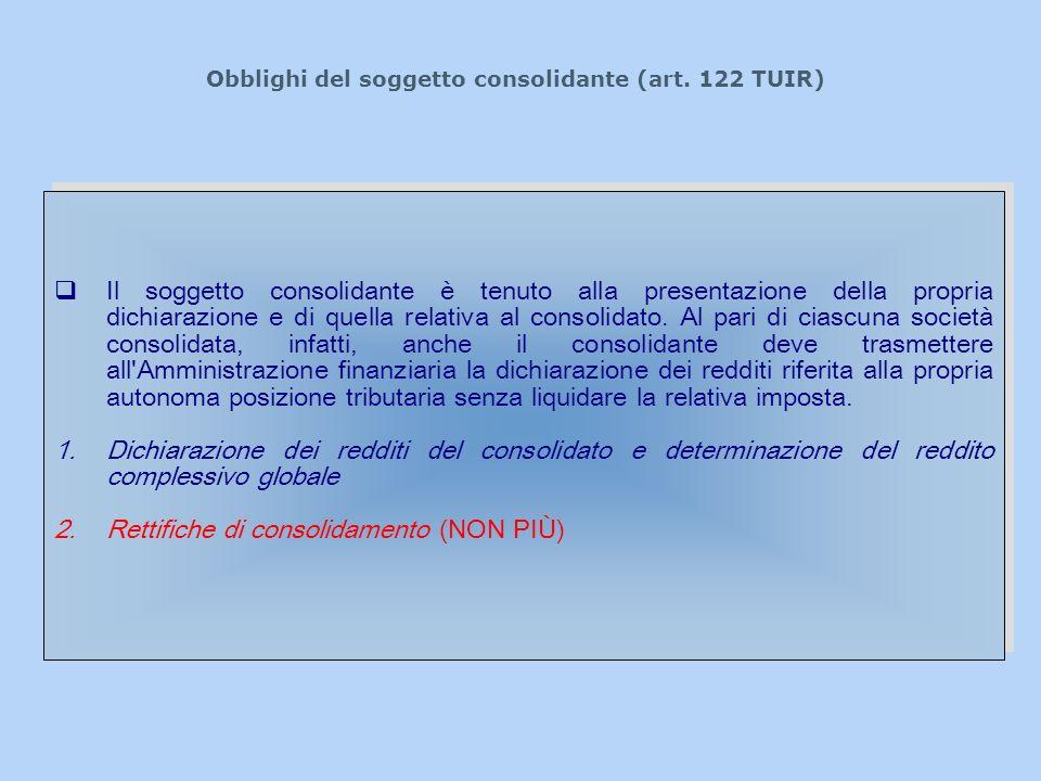 Obblighi del soggetto consolidante (art. 122 TUIR)