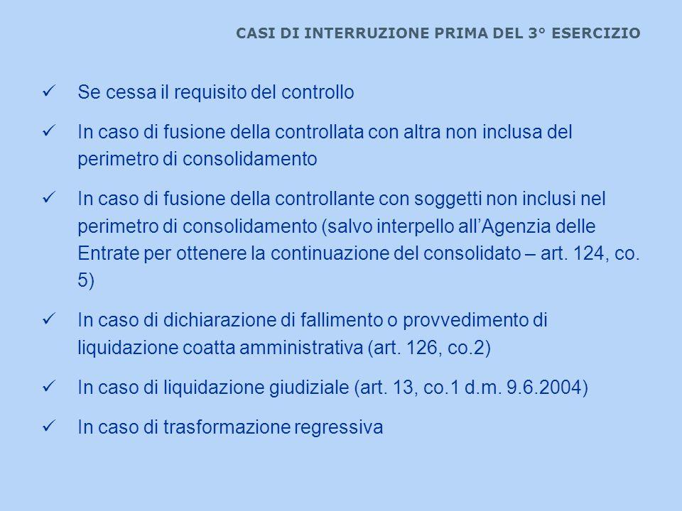 CASI DI INTERRUZIONE PRIMA DEL 3° ESERCIZIO