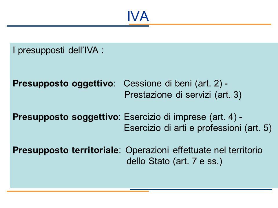 IVA I presupposti dell'IVA :