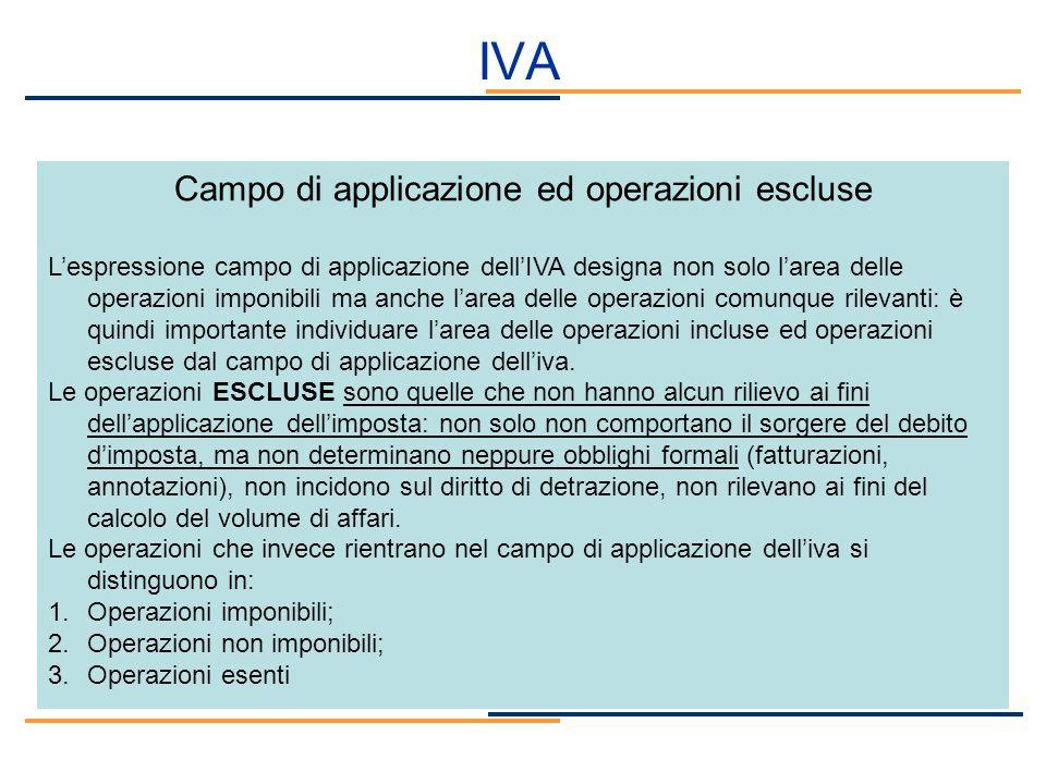 Campo di applicazione ed operazioni escluse
