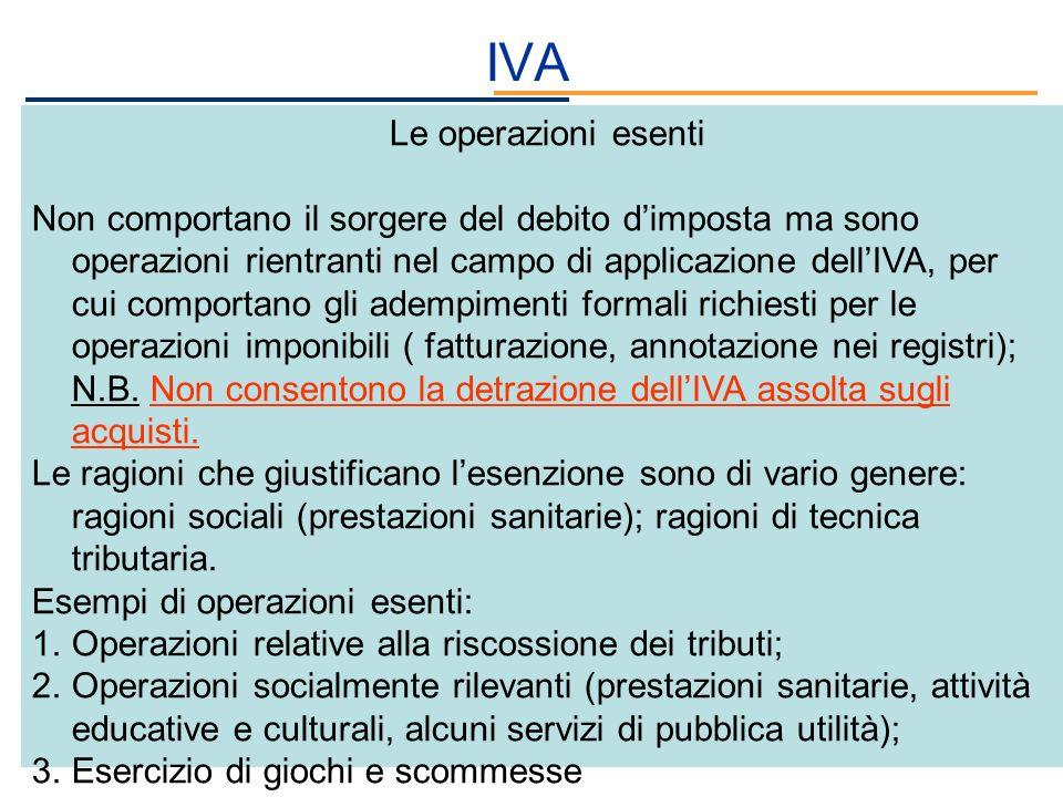 IVA Le operazioni esenti