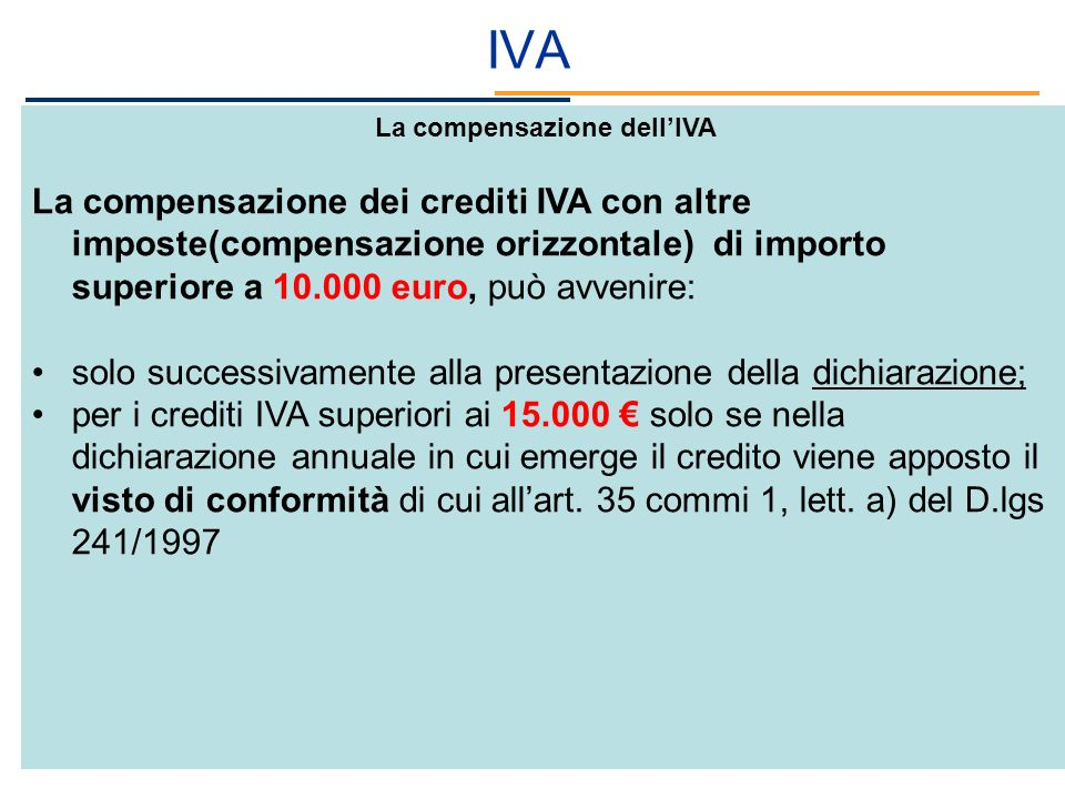 La compensazione dell'IVA