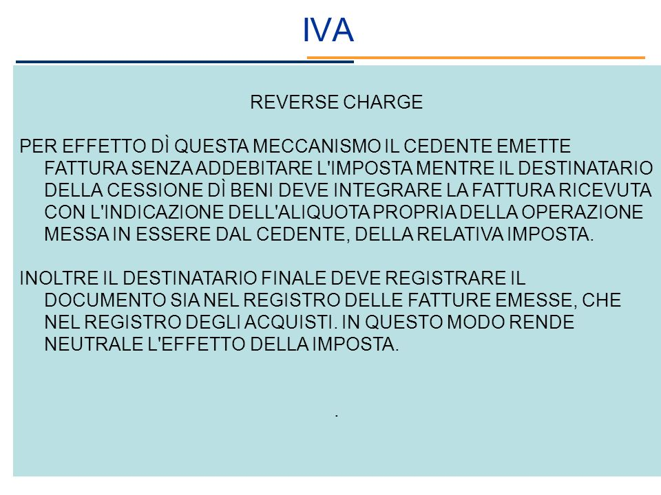 IVA REVERSE CHARGE.