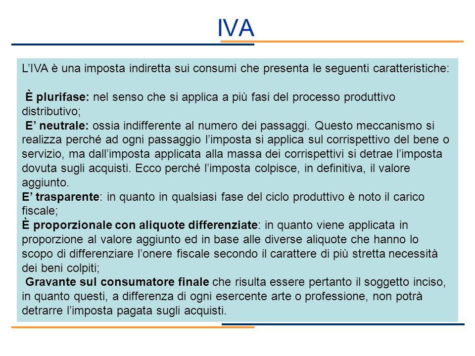 IVA L'IVA è una imposta indiretta sui consumi che presenta le seguenti caratteristiche: