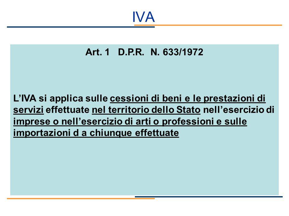 IVA Art. 1 D.P.R. N. 633/1972.