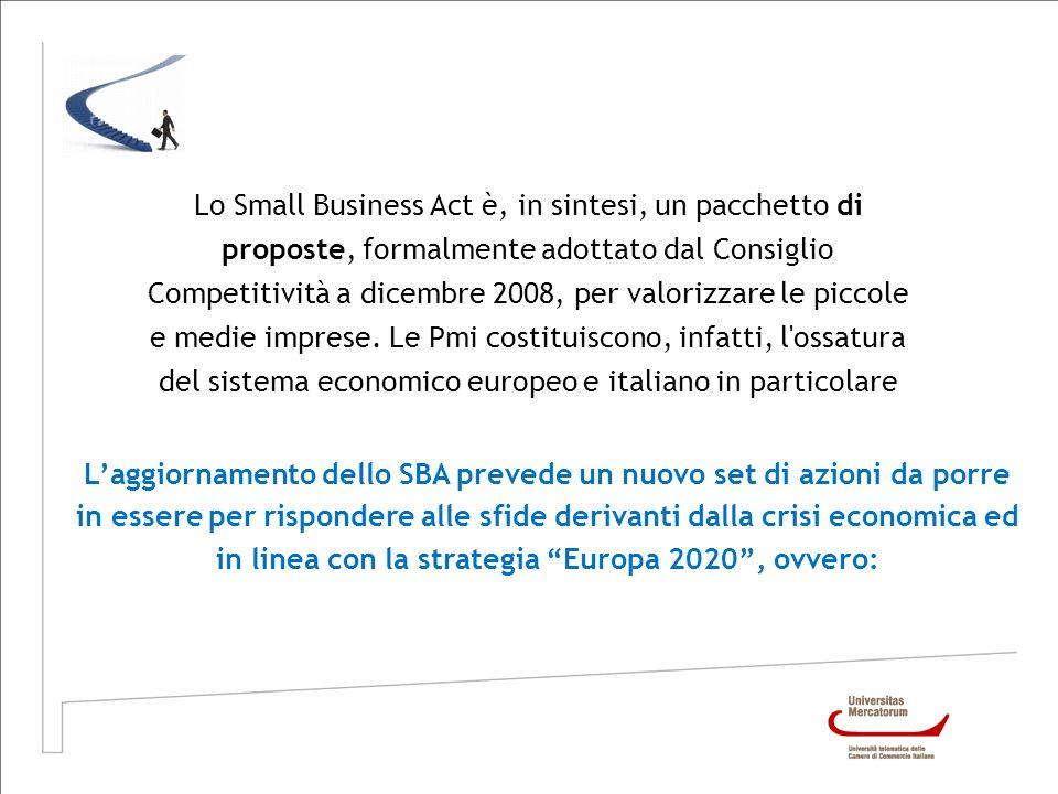 Lo Small Business Act è, in sintesi, un pacchetto di proposte, formalmente adottato dal Consiglio Competitività a dicembre 2008, per valorizzare le piccole e medie imprese. Le Pmi costituiscono, infatti, l ossatura del sistema economico europeo e italiano in particolare