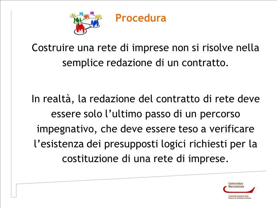 Procedura Costruire una rete di imprese non si risolve nella semplice redazione di un contratto.