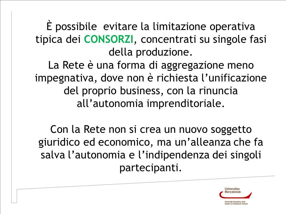 È possibile evitare la limitazione operativa tipica dei CONSORZI, concentrati su singole fasi della produzione.