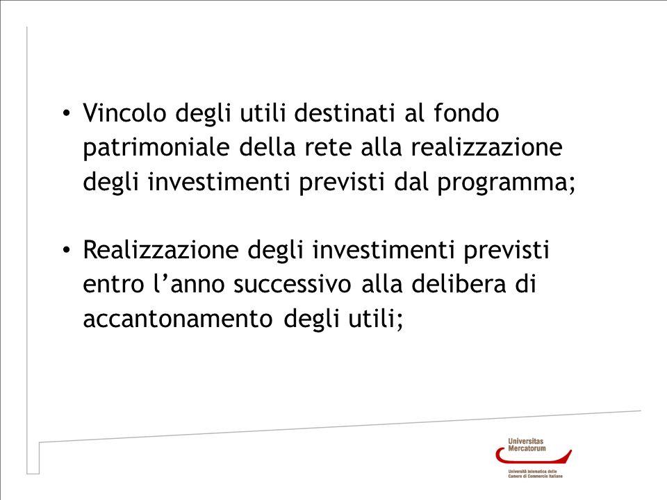 Vincolo degli utili destinati al fondo patrimoniale della rete alla realizzazione degli investimenti previsti dal programma;