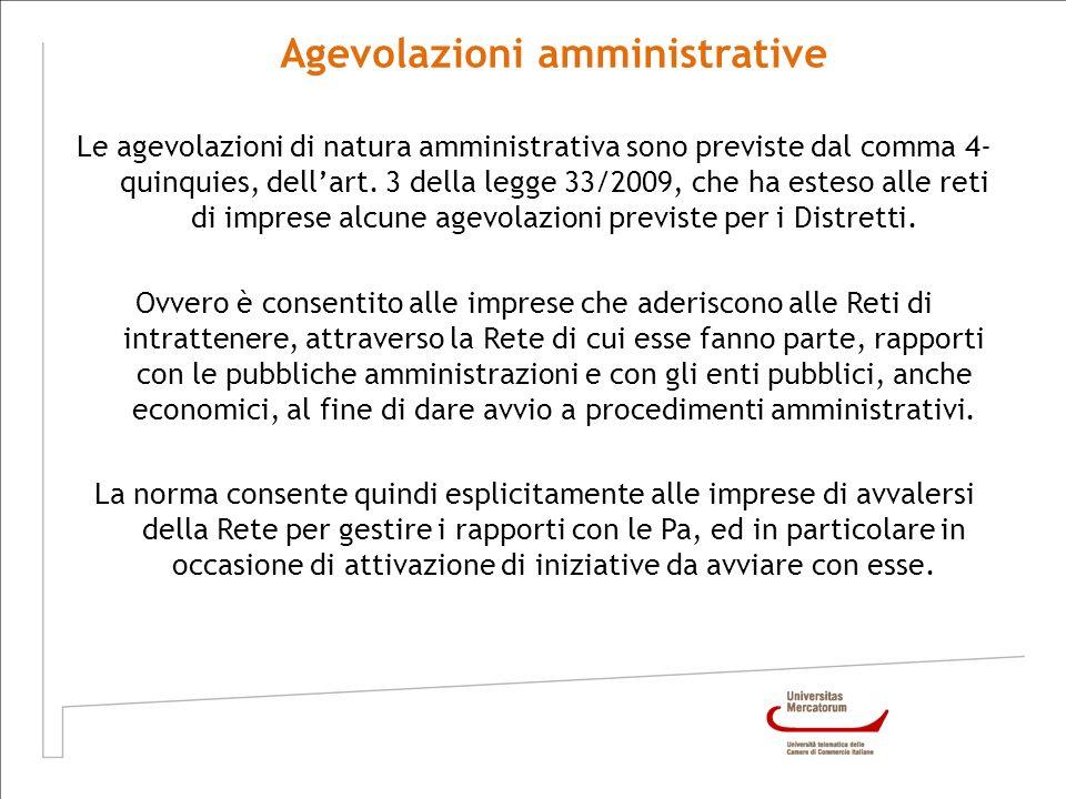 Agevolazioni amministrative