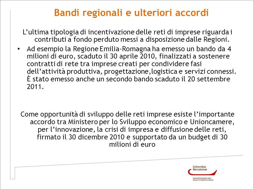 Bandi regionali e ulteriori accordi