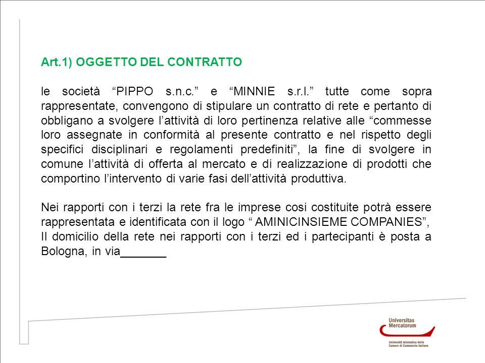 Art.1) OGGETTO DEL CONTRATTO