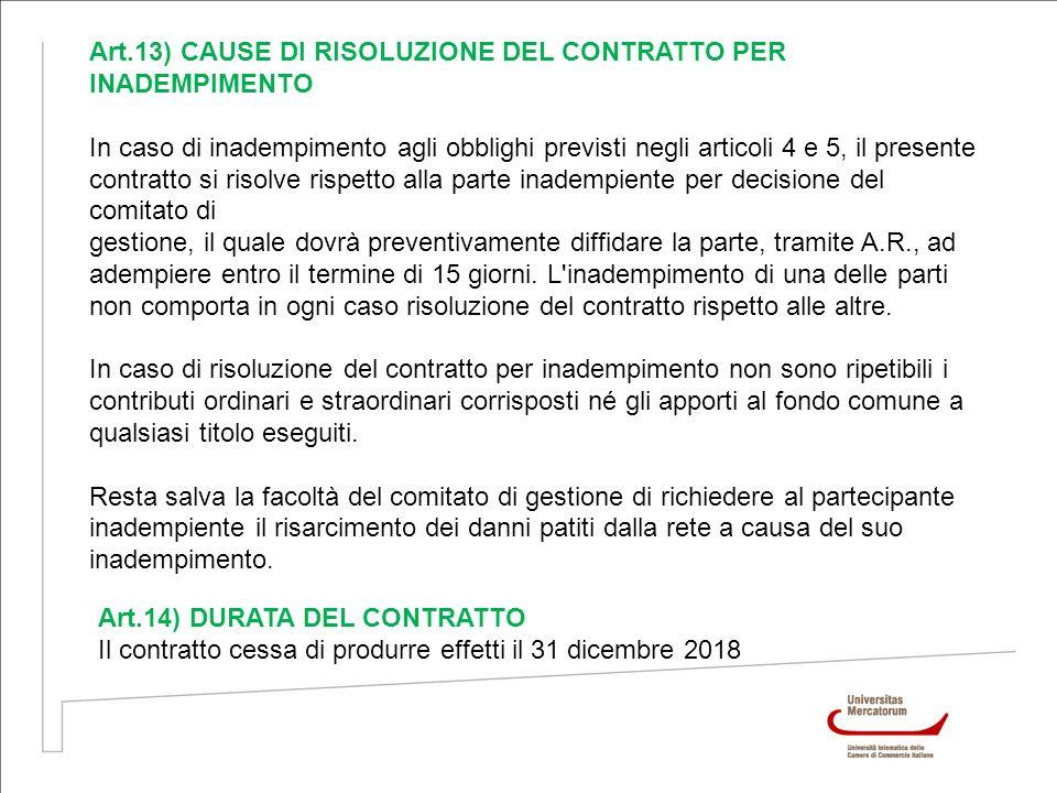 Art.13) CAUSE DI RISOLUZIONE DEL CONTRATTO PER