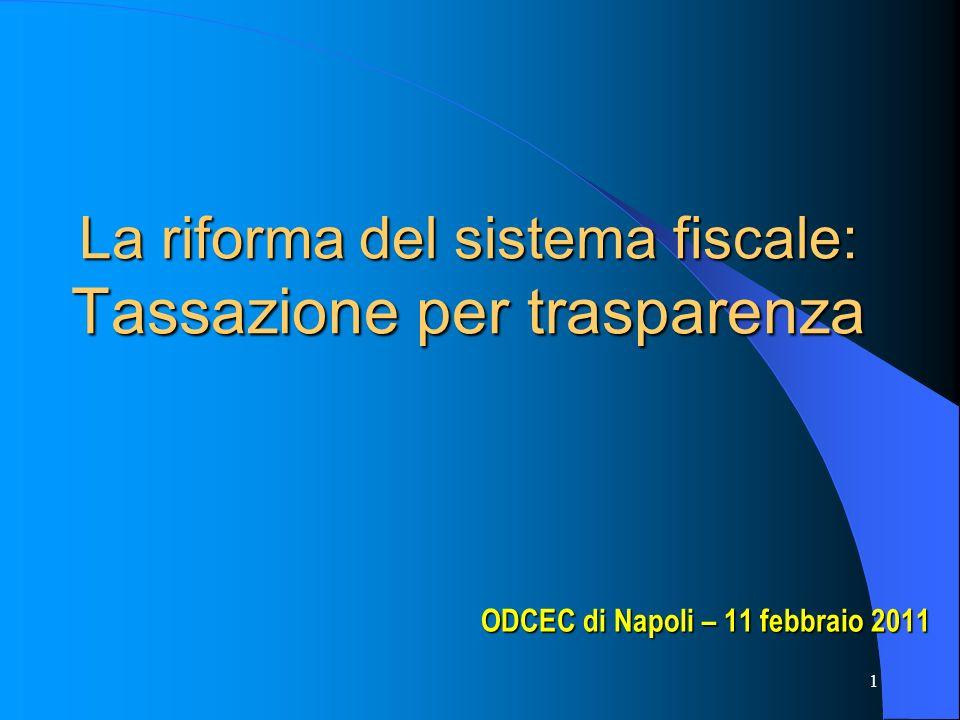 La riforma del sistema fiscale: Tassazione per trasparenza