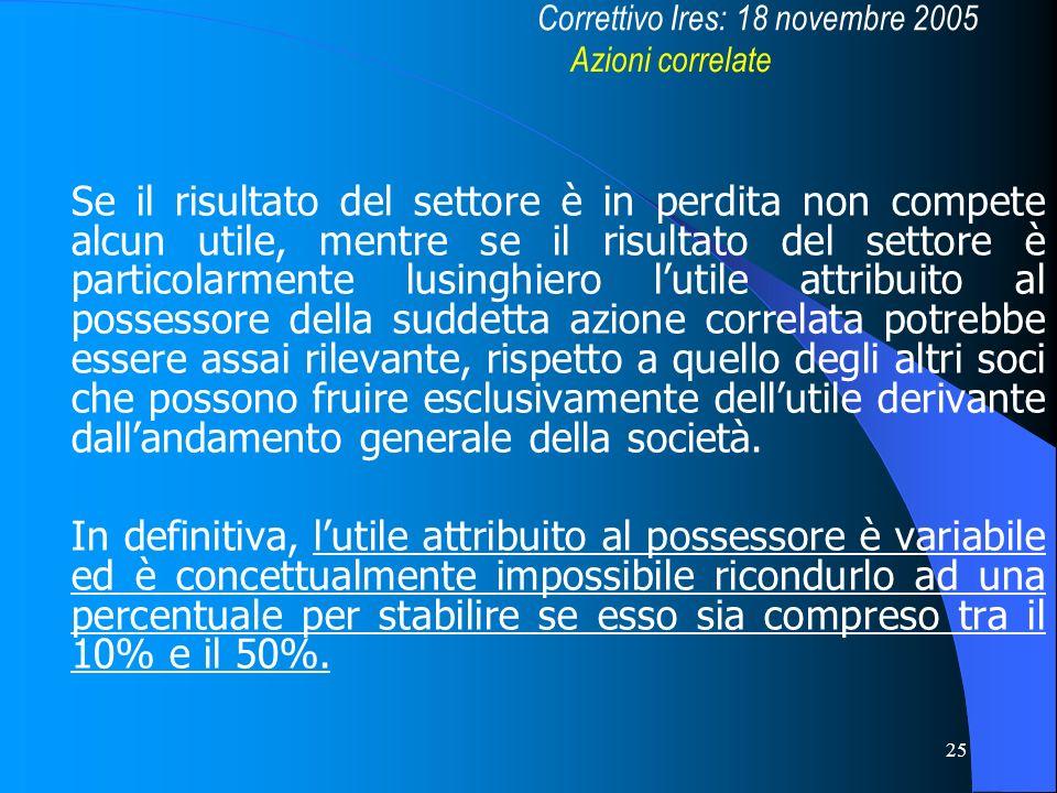 Correttivo Ires: 18 novembre 2005