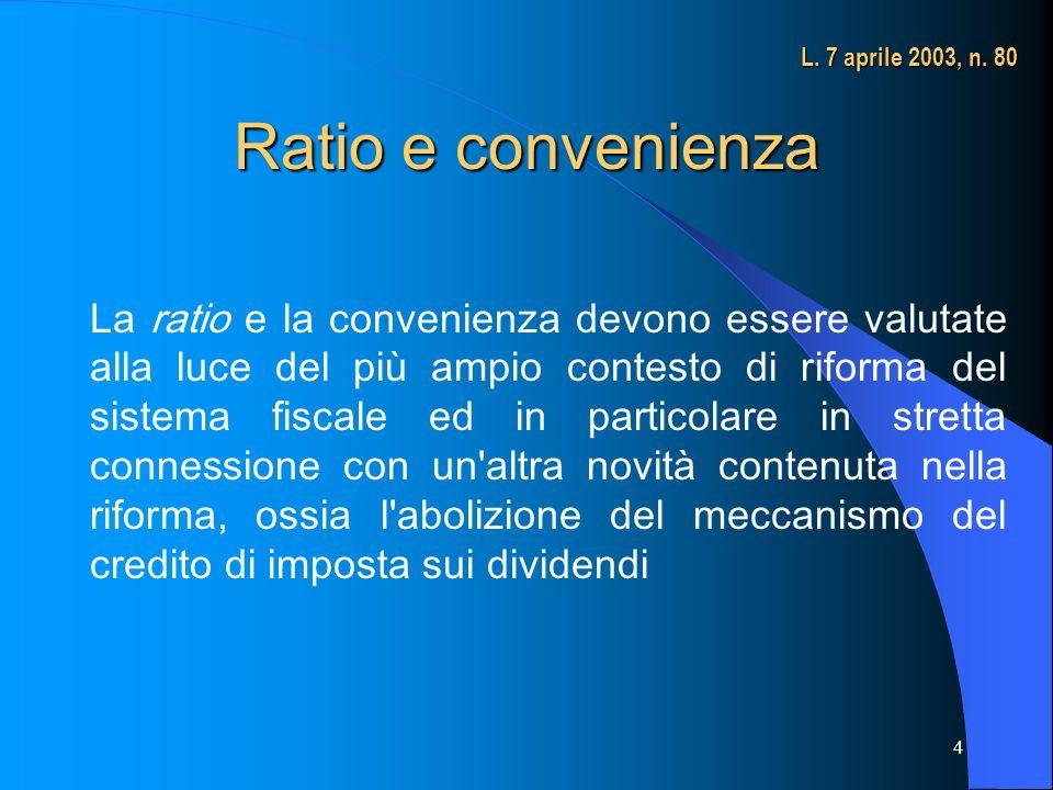 L. 7 aprile 2003, n. 80 Ratio e convenienza.