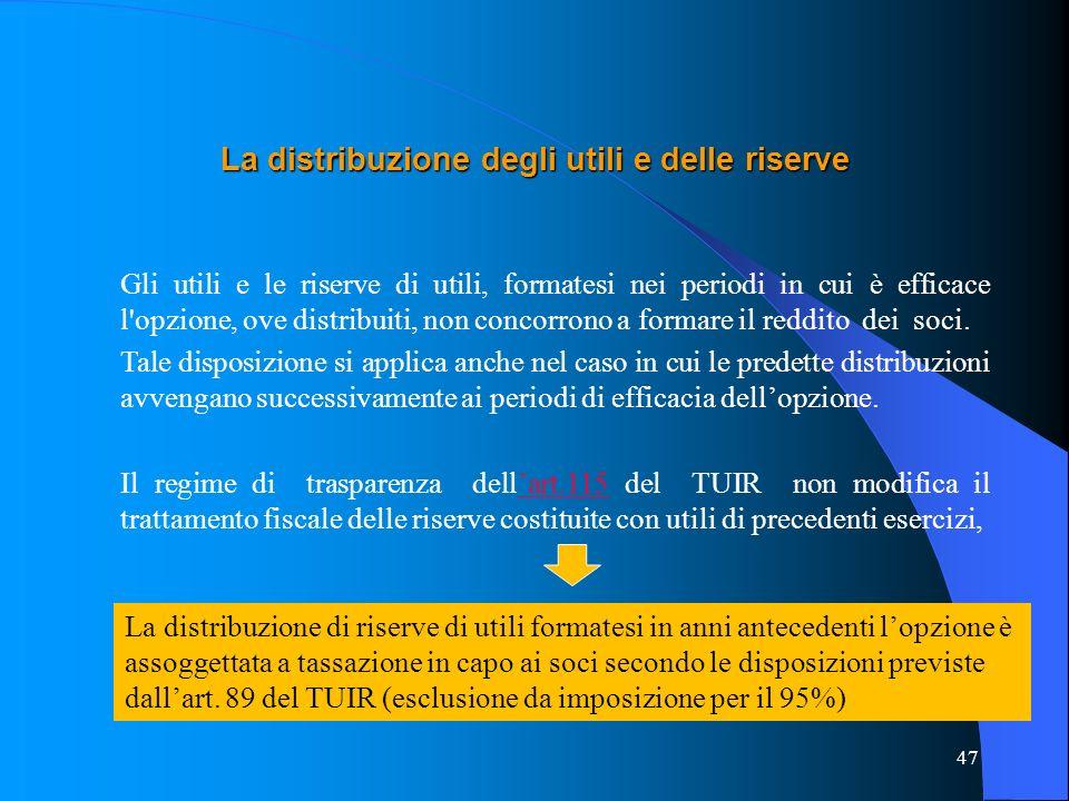 La distribuzione degli utili e delle riserve