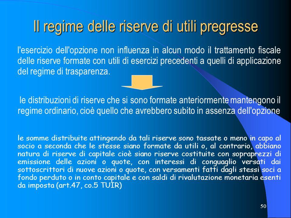 Il regime delle riserve di utili pregresse