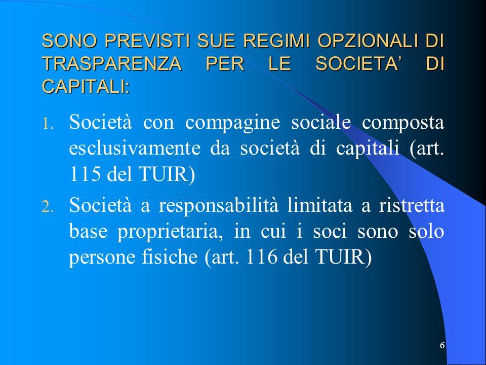 SONO PREVISTI SUE REGIMI OPZIONALI DI TRASPARENZA PER LE SOCIETA' DI CAPITALI: