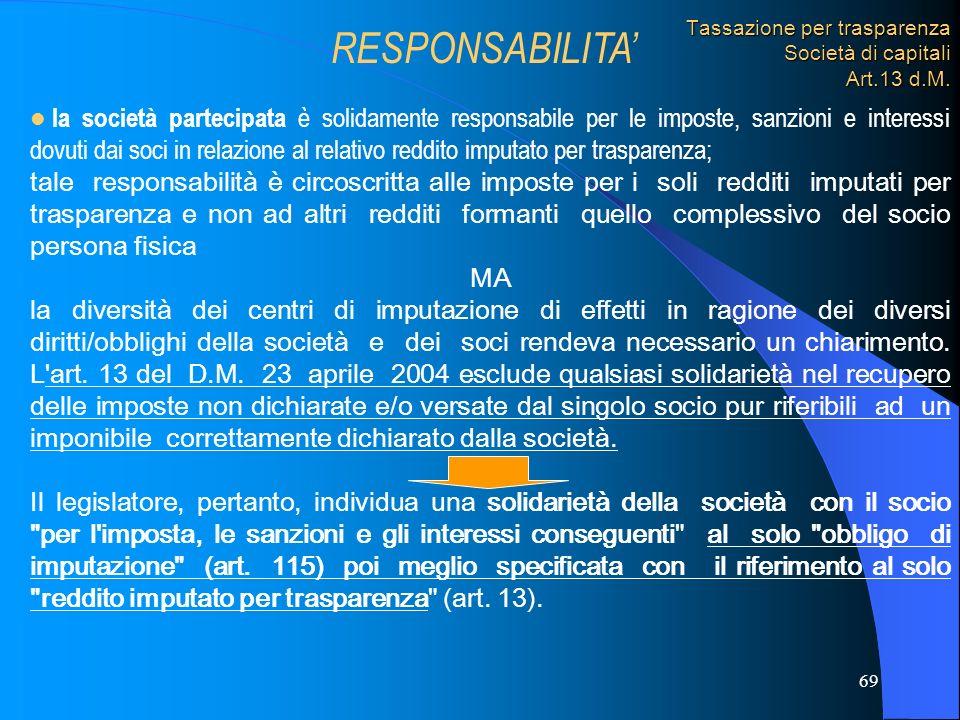 Tassazione per trasparenza Società di capitali Art.13 d.M.