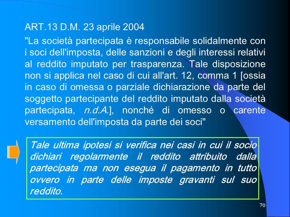 ART.13 D.M. 23 aprile 2004