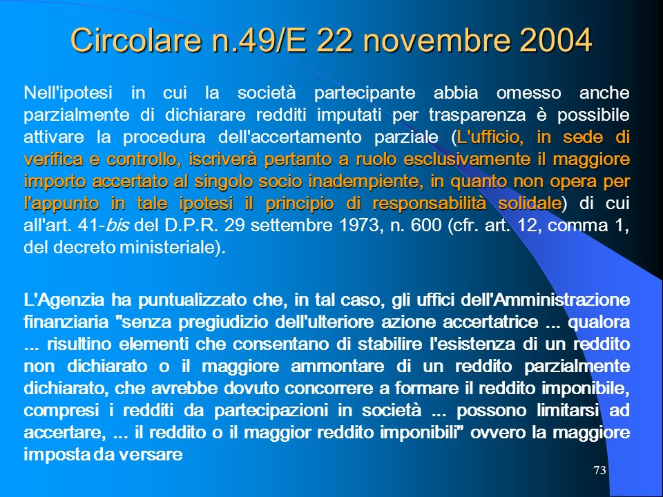 Circolare n.49/E 22 novembre 2004