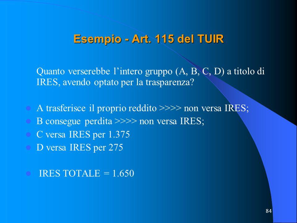 Esempio - Art. 115 del TUIR Quanto verserebbe l'intero gruppo (A, B, C, D) a titolo di IRES, avendo optato per la trasparenza