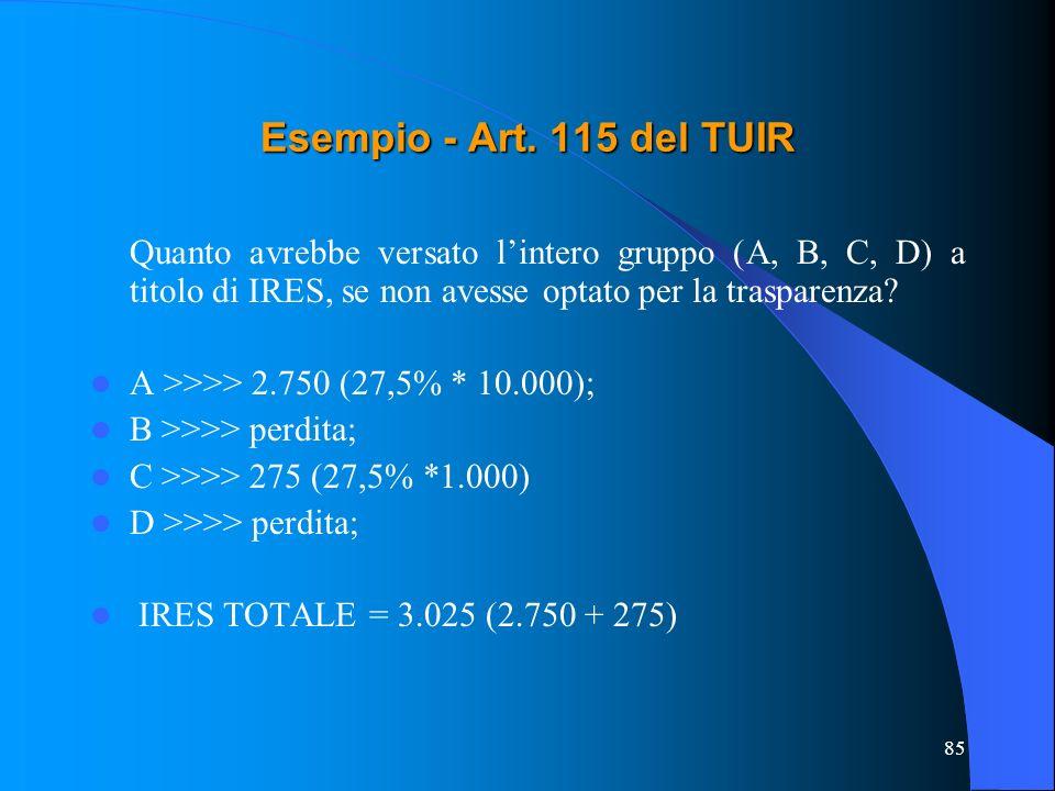 Esempio - Art. 115 del TUIR Quanto avrebbe versato l'intero gruppo (A, B, C, D) a titolo di IRES, se non avesse optato per la trasparenza