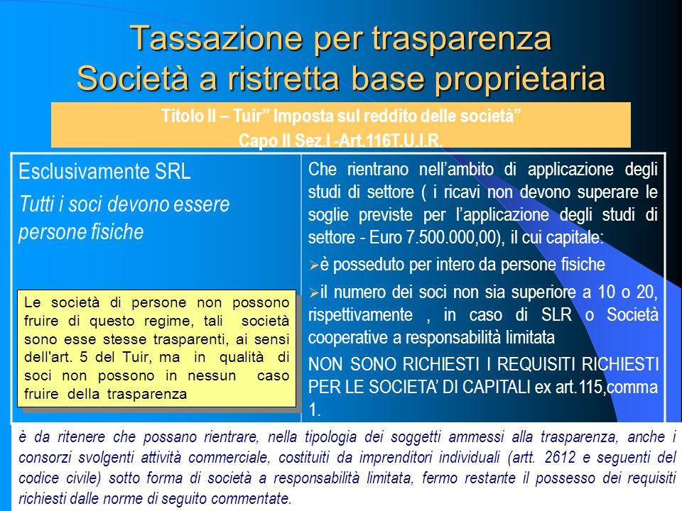 Tassazione per trasparenza Società a ristretta base proprietaria