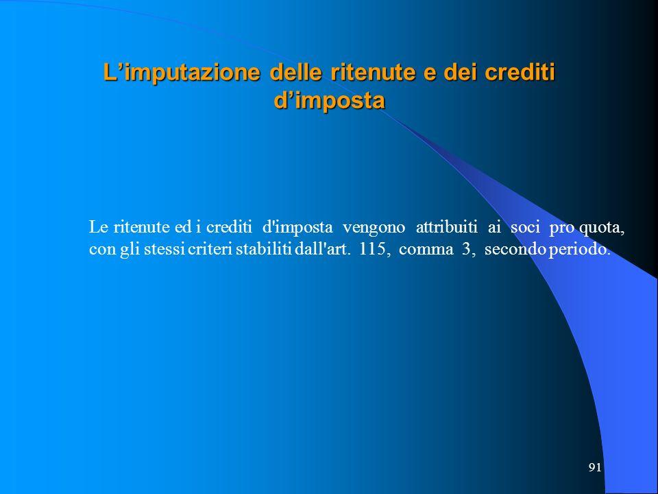 L'imputazione delle ritenute e dei crediti d'imposta