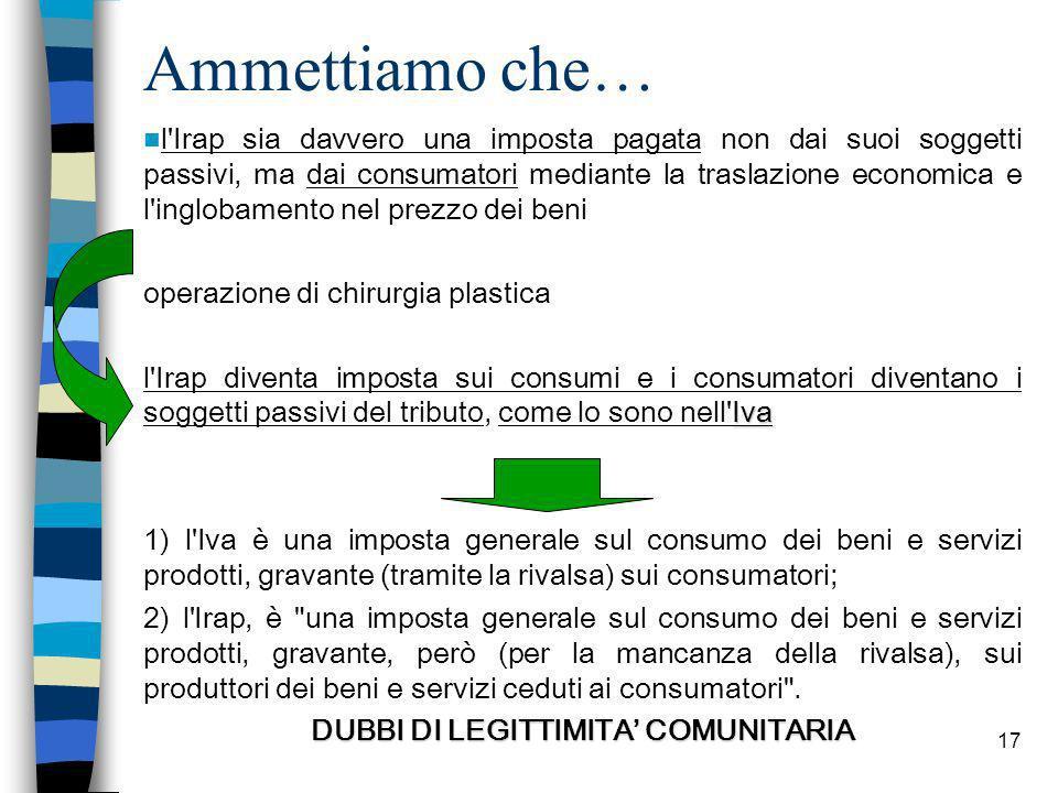 DUBBI DI LEGITTIMITA' COMUNITARIA